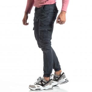 Pantaloni cargo gri de bărbați cu manșete elastice