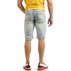 Bermude de blugi de bărbați cu efect decolorat Red Jolly 2