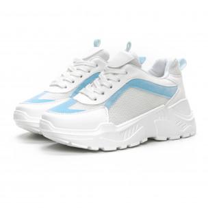 Pantofi sport de dama Chunky în alb și albastru 2