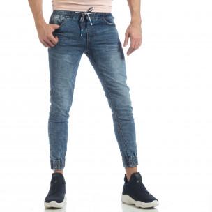 Skinny Jogger de barbați albastru cu efect șifonat
