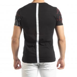 Tricou negru de bărbați cu bandă pe spate  2