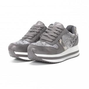 Pantofi sport cu platforma de dama în gri 2