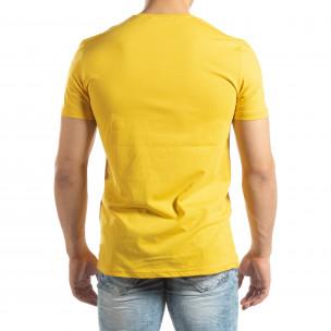 Tricou galben pentru bărbați cu aplicații neon  2