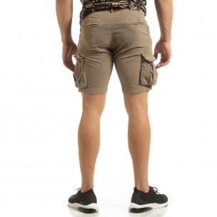 Pantaloni cargo scurți de bărbați Slim fit bej  2