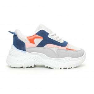 Pantofi sport de dama albi cu detalii colorate
