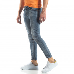 Washed Slim Jeans în gri-albastru