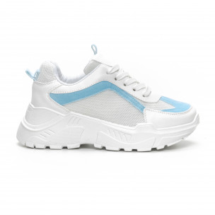 Pantofi sport de dama Chunky în alb și albastru