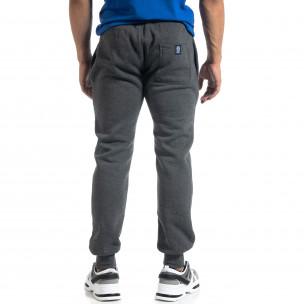 Pantaloni de trening de bărbați flaușați melanj gri  2