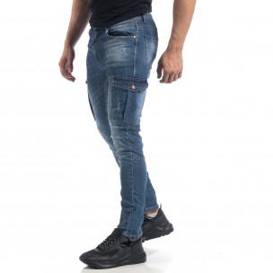 Cargo Jeans Slim fit de bărbați albaștri șifonați