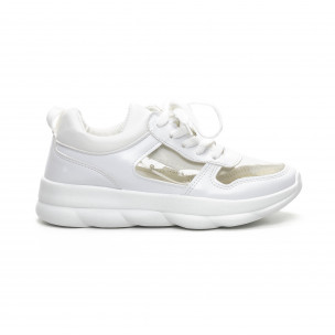 Pantofi sport de dama albi cu părți transparente