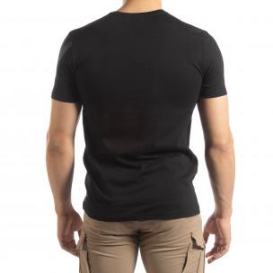 Tricou negru pentru bărbați cu imprimeu  2