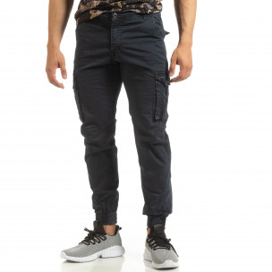 Pantaloni albaștri cargo jogger pentru bărbați 2