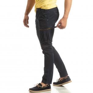 Pantaloni cargo albaștri drepți pentru bărbați