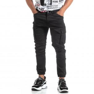 Pantaloni negri de bărbați cu buzunare cargo 2