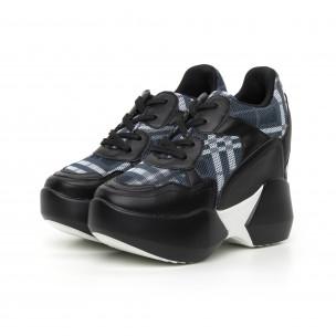 Pantofi sport de dama cu carouri și platformă ascunsă 2