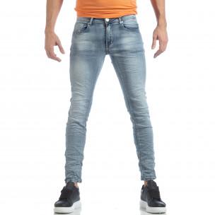 Washed Slim Jeans albaștri pentru bărbați 2