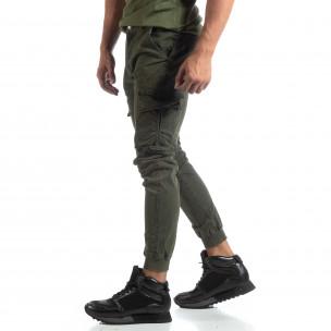 Pantaloni cargo verzi de bărbați cu manșete din tricot