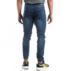 Jogger Jeans albaștri de bărbați stil rocker 2