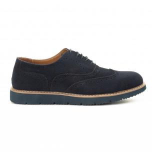 Pantofi casual Wingtip din velur albastru pentru bărbați