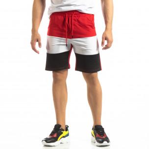 Pantaloni scurți sport roșii de bărbați cu alb și negru