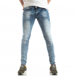 Washed Slim Jeans albaștri pentru bărbați Yes!Boy
