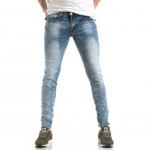 Washed Slim Jeans albaștri pentru bărbați