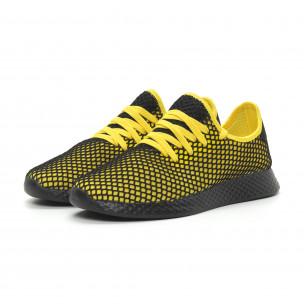 Adidași ultra ușori în negru și galben Mesh pentru bărbați