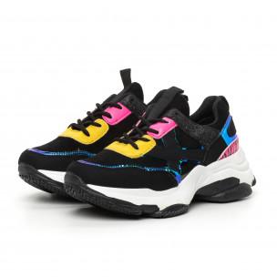 Pantofi sport de dama negri Chunky cu accente MIX 2