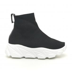 Pantofi sport de dama negri tip șosetă cu talpă albă