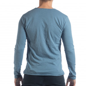 Bluză în albastru V-neck pentru bărbați  2