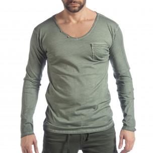 Bluză pentru bărbați verde Vintage stil