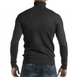 Pulover în melanj gri pentru bărbați din tricot fin cu guler rulat  2