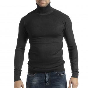 Pulover în melanj gri pentru bărbați din tricot fin cu guler rulat