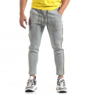 Pantaloni de trening drepți gri pentru bărbați  2