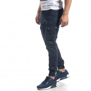 Pantaloni de bărbați albaștri cu buzunare cargo