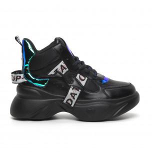 Pantofi sport de dama înalți cu accente neon
