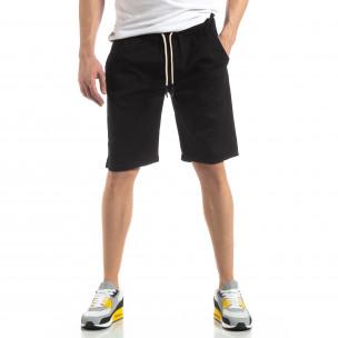Pantaloni scurți Basic în negru pentru bărbați