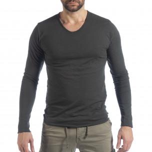 Bluză în gri grafit  V-neck pentru bărbați
