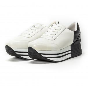 Pantofi sport cu platforma în negru-alb pentru dama  2