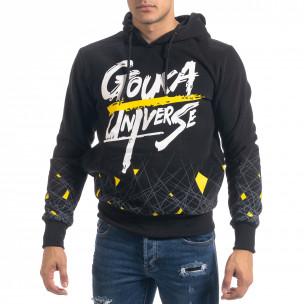 Hanorac hoodie de bărbați negru cu imprimeu 2