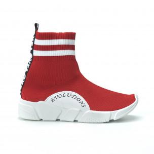 Pantofi sport de dama roșii tip șosetă cu accente 2
