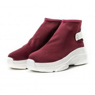 Pantofi sport fără șireturi pentru dama din neopren roșu 2