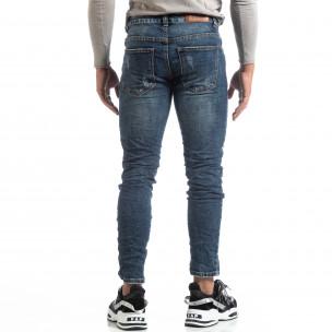 Blugi șifonați albaștri de bărbați cu patch-uri camuflaje Always Jeans 2