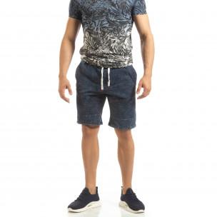 Pantaloni sport scurți pentru bărbați din tricot albastru