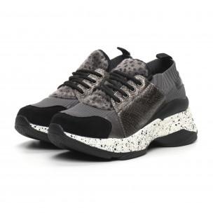 Pantofi sport de dama gri design Patchwork  2