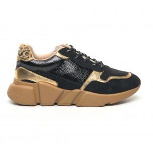 Pantofi sport ușori de dama în negru și auriu 2