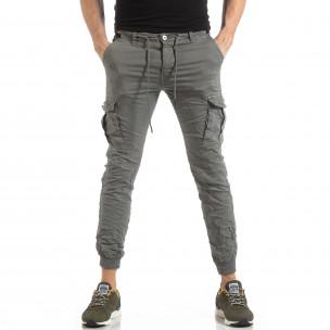 Pantaloni cargo de bărbați gri cu manșete din tricot 2