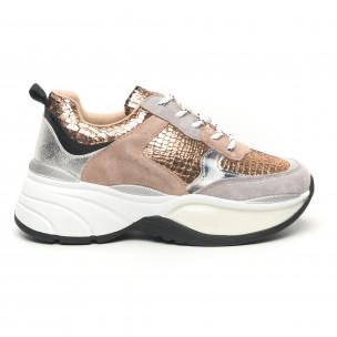 Pantofi sport voluminoși de dama șagrin în auriu Moom