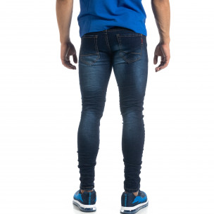 Blugi de bărbați în culoarea indigo cu efect șifonat Skinny fit 2