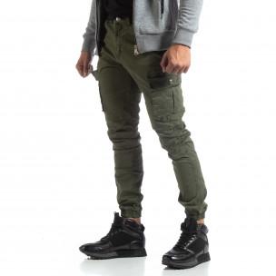 Pantaloni verzi de bărbați cu buzunare cargo